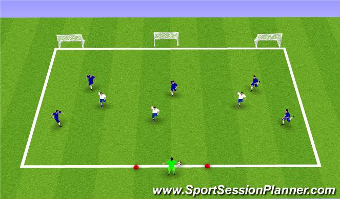 Football/Soccer Session Plan Drill (Colour): 6v3 POFTB