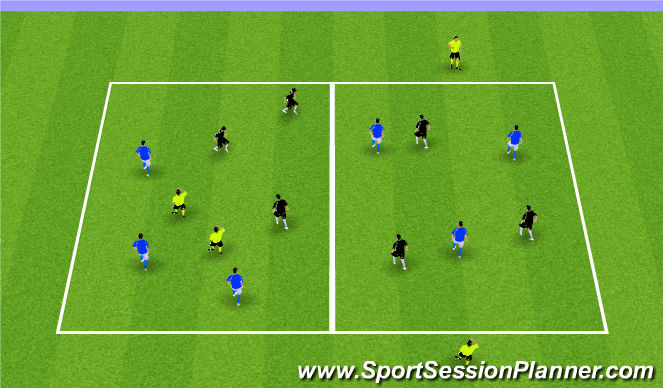 Football/Soccer Session Plan Drill (Colour): Optional: 3v3+2N