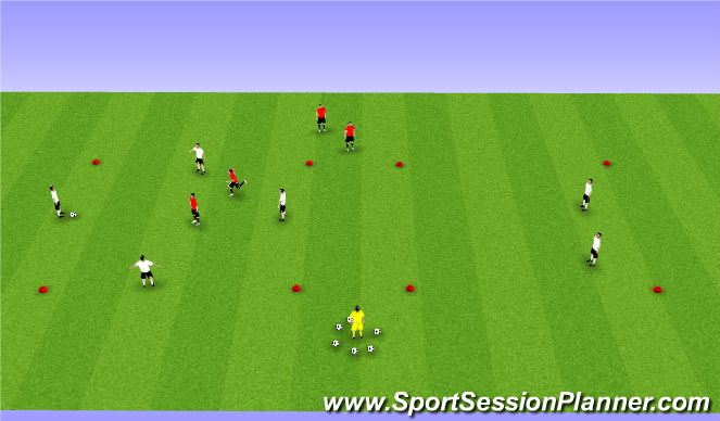 Football/Soccer Session Plan Drill (Colour): 4v2 (Plus 2)