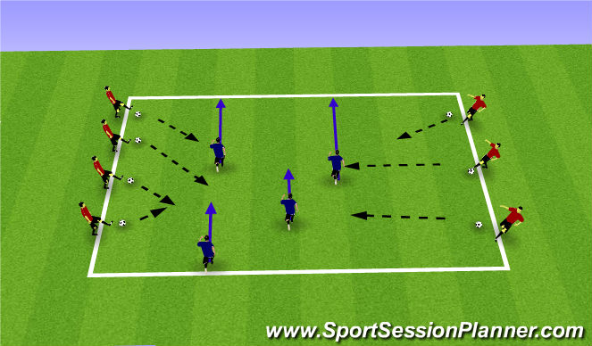 Football/Soccer Session Plan Drill (Colour): Cannon Ball Run