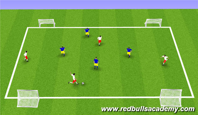 Football/Soccer Session Plan Drill (Colour): Four Goal Wide