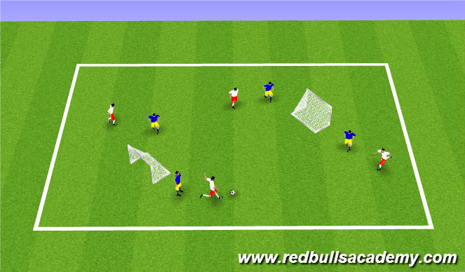 Football/Soccer Session Plan Drill (Colour): Two Goal In-Field