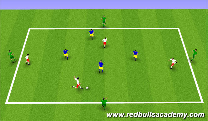 Football/Soccer Session Plan Drill (Colour): Four Target Players