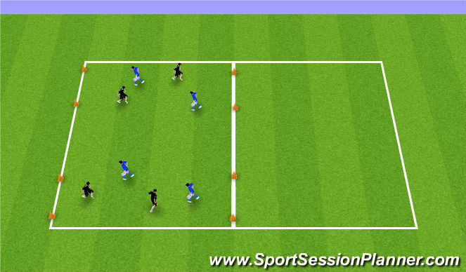 Football/Soccer Session Plan Drill (Colour): Two Wide Goals