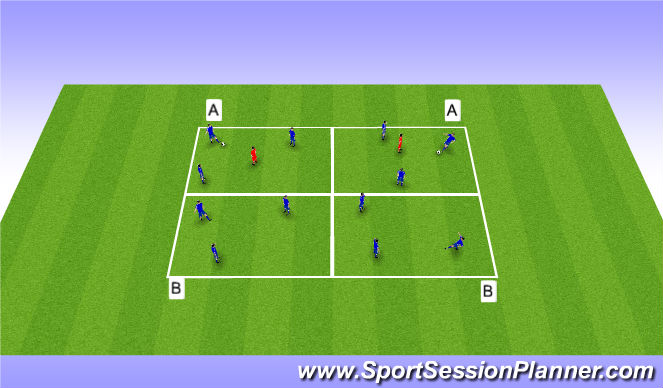 Football/Soccer Session Plan Drill (Colour): 3 v 1 Keep Away with Switch