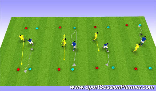 Football/Soccer Session Plan Drill (Colour): 1v1 Lose your man