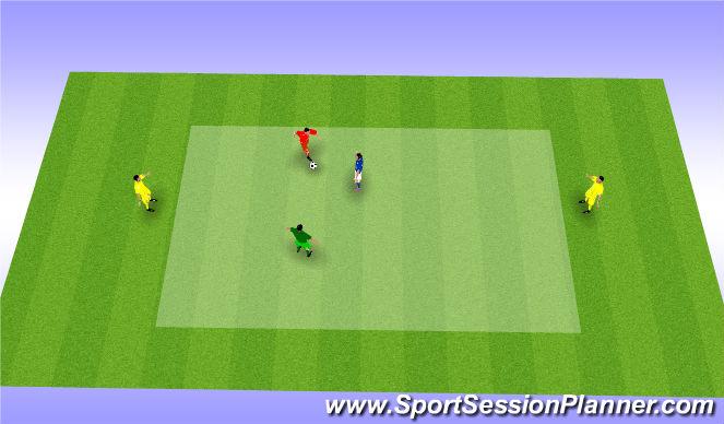 Football/Soccer Session Plan Drill (Colour): 1v1 + 1 CM + 2 Wingers