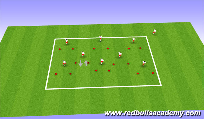 Football/Soccer Session Plan Drill (Colour): Practice 1 - Repetitions.