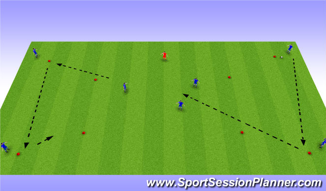 Football/Soccer Session Plan Drill (Colour): Midfield 1