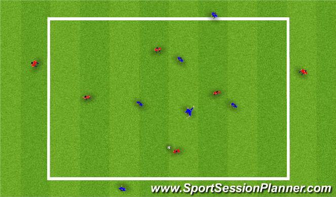 Football/Soccer Session Plan Drill (Colour): 4+2V4+2