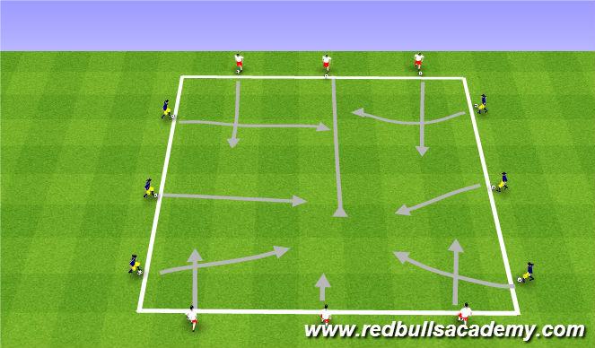 Football/Soccer Session Plan Drill (Colour): Main Theme - Dribbling / RWB - Semi-Opposed