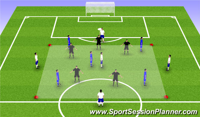 Football/Soccer Session Plan Drill (Colour): 5v5+5 dismarking