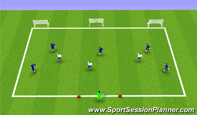 Football/Soccer Session Plan Drill (Colour): 6v3 POFTB