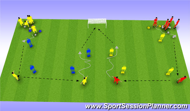 Football/Soccer Session Plan Drill (Colour): Pass & Follow into finising