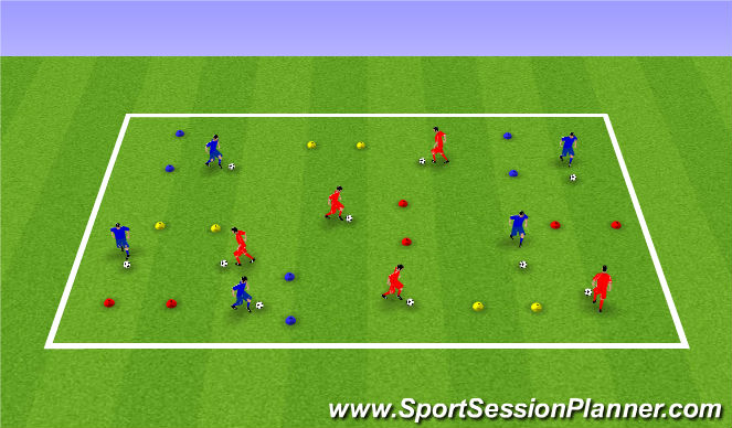 Football/Soccer Session Plan Drill (Colour): Dribbling Technical