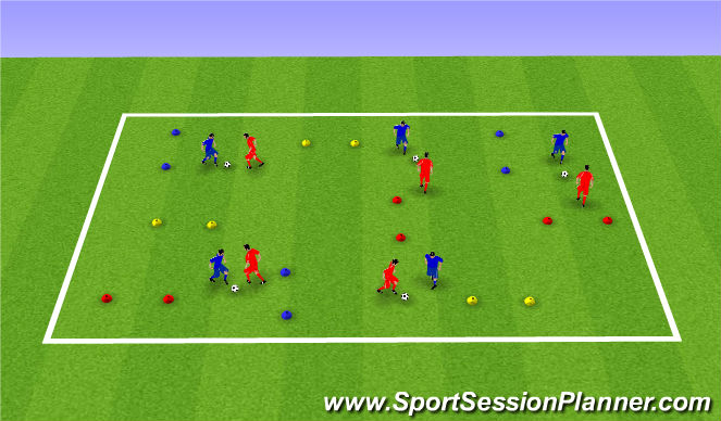 Football/Soccer Session Plan Drill (Colour): 1v1 Dribbling Skills