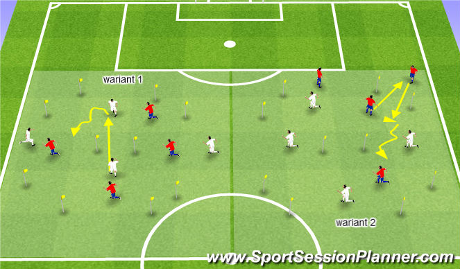 Football/Soccer Session Plan Drill (Colour): Gra na utrzymanie 4x4, wariant 8x8, podanie przez bramkę